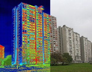 Infrared and real image showing lack of thermal insulation on Residential building